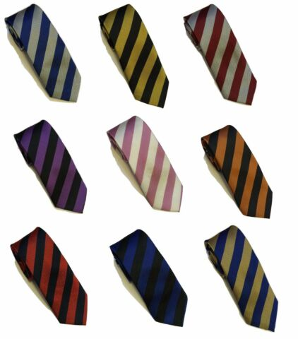 STRIPED SCHOOL MENS BOYS WEDDING PROM PARTY PLAIN NECKTIE UNIFORM FOOTBALL TIE