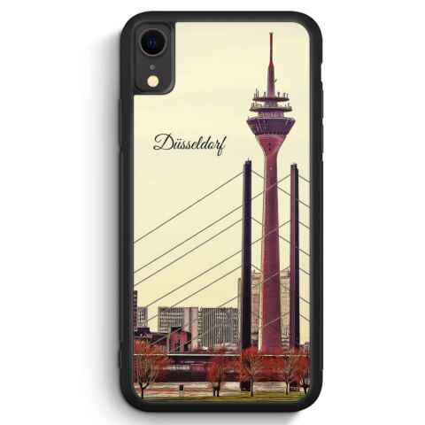 PANORAMA D SSELDORF IPHONE XR SILIKON H LLE COVER SKYLINE SILHOUETTE SCH N HA