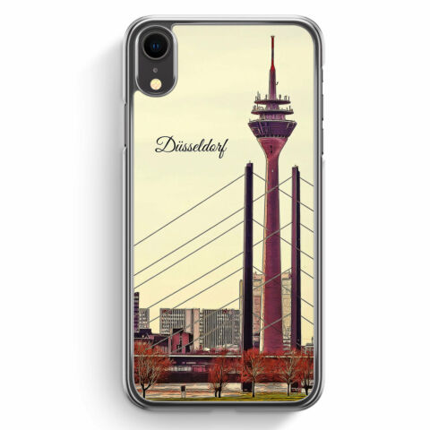 PANORAMA D SSELDORF IPHONE XR H LLE COVER SKYLINE SILHOUETTE SCH N HARD CASE