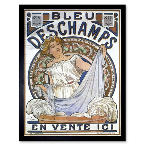 ALPHONSE MUCHA BLEU DESCHAMPS OLD MASTER PAINTING 12X16 INCH FRAMED ART PRINT