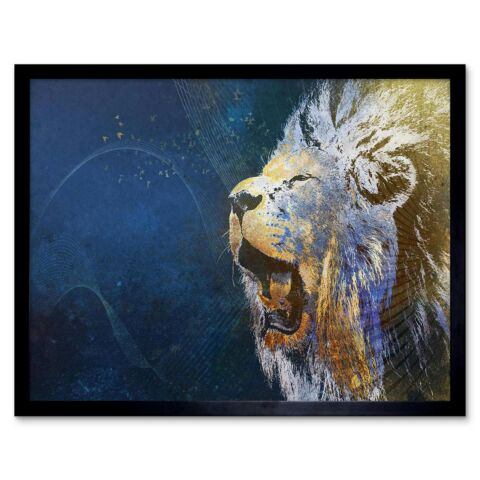 PAINTING MONTAGE LION ROARING ILLUSTRATION 12X16 INCH FRAMED ART PRINT
