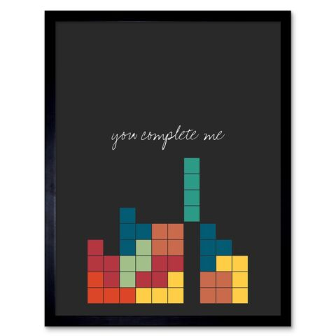 LOVE QUOTE YOU COMPLETE ME VIDEO GAME NERD TETRIS 12X16 INCH FRAMED ART PRINT