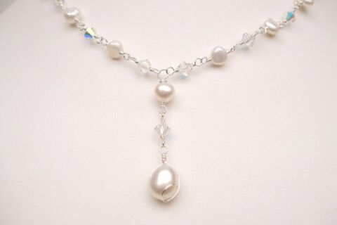 DESIGNER FRESHWATER PEARL AND CRYSTAL BRIDAL NECKLACE HANDMADE JEWELLERY GIFT