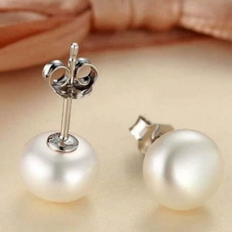 FASHION WOMAN 6MM PEARL EARRINGS WHITE CREAM 925 STERLING SILVER STUD STUDS PT