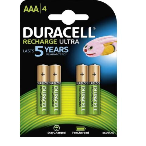 4 X DURACELL RECHARGEABLE BATTERIES AAA 850MAH NIMH PRE CHARGED NEW SEALED
