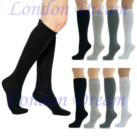 WOMEN LADIES GIRLS KNEE HIGH LENGTH COTTON SOCKS SCHOOL UNIFORM SOCKS UK 4 6