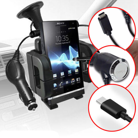 WINDSCREEN SWIVEL BIG MOUNT PHONE HOLDER IN CAR KIT CRADLE CHARGER TYPE C MODELS