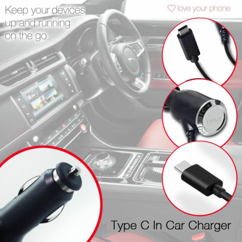 QUALITY IN CAR CIGARETTE TRAVEL CHARGER USB TYPE C CHARGE CABLE CE APPROVED