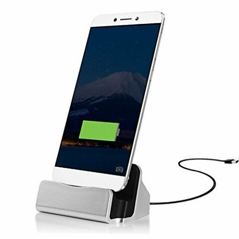 DESKTOP DOCK CHARGING CHARGER SYNC CRADLE STATION USB TYPE C CHARGE CABLE SILVER