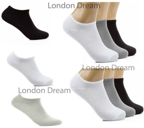MENS WOMENS LADIES GIRLS COTTON PLAIN TRAINER LINER ANKLE SCHOOL UNIFORM SOCKS