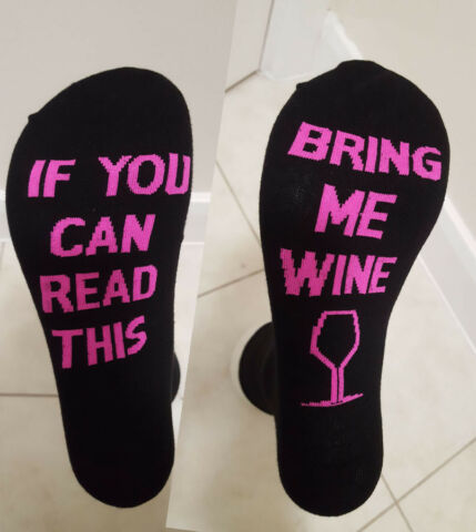 SOCKS BRING ME WINE IF YOU CAN READ THIS FUNNY PINK 5 9 UK GIFTS GIFT 38 43 EU