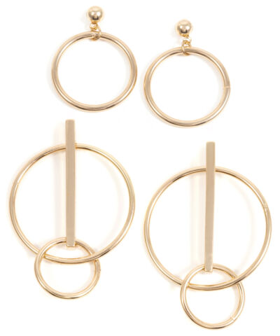 HAPPINESS BOUTIQUE CREOLEN 2ER SET IN GOLD RUNDE UND DOPPELKREIS CREOLE OHRRINGE