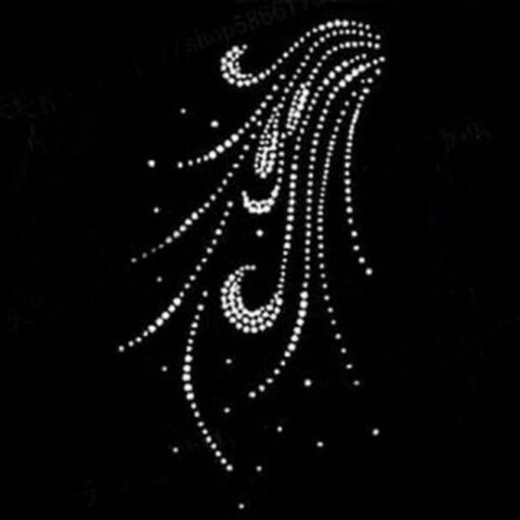 HOT FIX RHINESTONES FEATHER MOTIF CRYSTAL PEARL IRON ON HEAT TRANSFER DESIGN PAB
