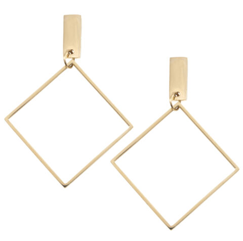 HAPPINESS BOUTIQUE VIERECK OHRRINGE IN GOLD GEOMETRISCHE CREOLEN QUADRAT FORM