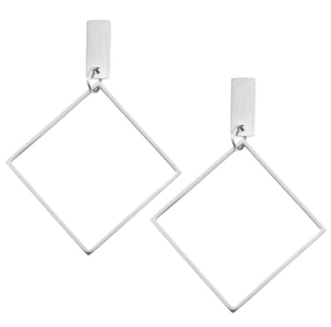 HAPPINESS BOUTIQUE VIERECK OHRRINGE IN SILBER GEOMETRISCHE CREOLEN QUADRAT FORM