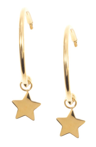 HAPPINESS BOUTIQUE CREOLEN STERN ANH NGER IN GOLD RUNDE OHRRINGE EDELSTAHL
