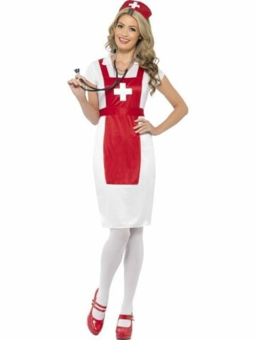 ADULT LADIES A E NURSE DRESS COSTUME FANCY DRESS OUTFIT SEXY S 8 10 SMIFFYS