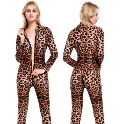 SEXY LEOPARD CATSUIT OVERALL BODYCON BODY ENGE PASSFORM KOST M 2 WAY ZIPPER