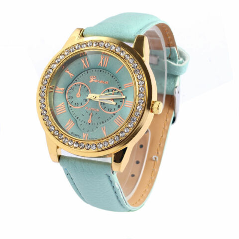 PASTEL GREEN LEATHER WATCH ROMAN NUMERALS CRYSTAL RHINESTONES IN LAST ONE