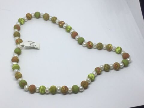 VIVA ORIGINAL OLIVE CLAY BEADED NECKLACE HIPPY BOHO GIFT HAND MADE J176