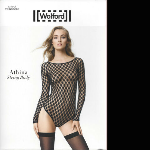 WOLFORD ATHINA STRING BODY S BLACK SUPER WEICHES MATERIAL MIT WOLLANTEIL