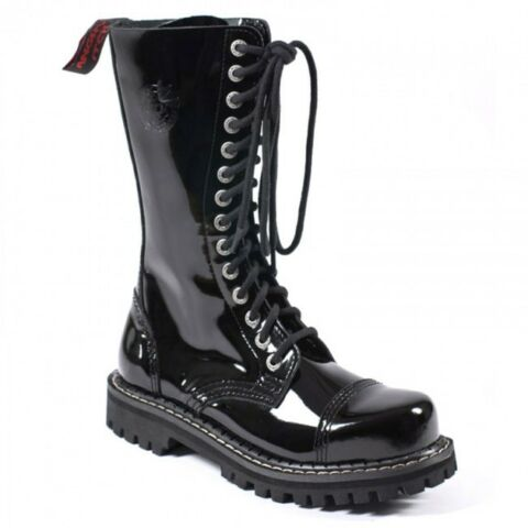 ANGRY ITCH 14 LOCH GOTHIC PUNK ARMY RANGER LACK LEDERSTIEFEL BOOTS UNISEX NEU