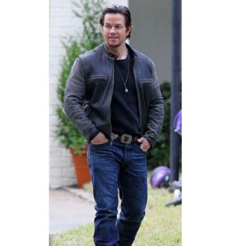 NEW DADDYS HOME MOVIE OUTFIT MARK WAHLBERG BIKER DISTRESSED REAL LEATHER JACKET