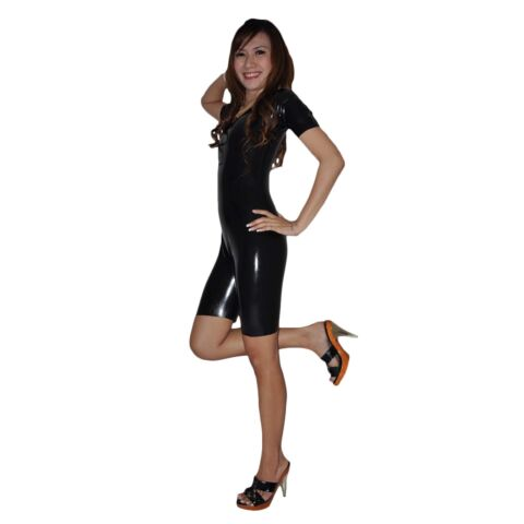 BRAND NEW LATEX RUBBER BLACK SHORT SLEEVED CATSUIT BODY SUIT ONE SIZE