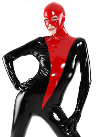HOT SALE TIGHTS SUIT LATEX RUBBER GUMMI RED AND BLACK CATSUIT 0 4MM SIZE S XXL
