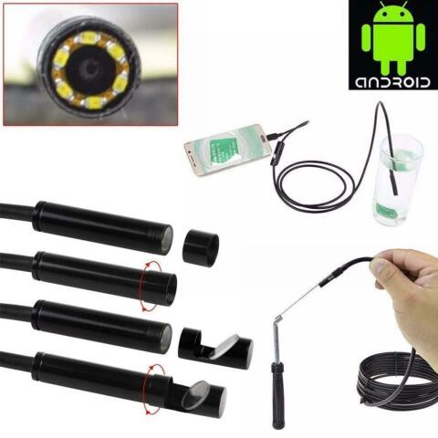 7MM ANDROID PHONE ENDOSCOPE IP67 INSPECTION BORESCOPE HD 6 LED VIDEO CAMERA 3 Y