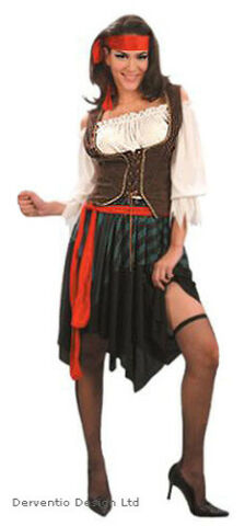 LADIES PIRATE COSTUME WOMENS FANCY DRESS OUTFIT 5PC NEW HALLOWEEN SIZE 10 12