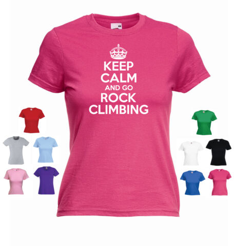 KEEP CALM AND GO ROCK CLIMBING LADIES GIRLS FUNNY ABSEILING T SHIRT TEE