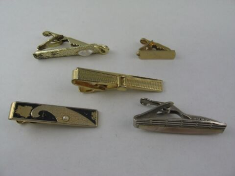 LOT OF 5 VINTAGE TIE BARS CLIPS SCHMUCK ACCESSOIRE KUNSTPERLE ART D CO