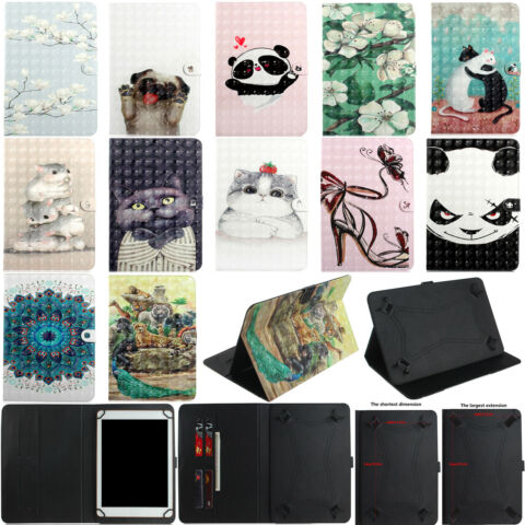 UNIVERSAL LEATHER WALLET CARD STAND CASE COVER FOR SAMSUNG LENOVO HP TABLET 7 TX