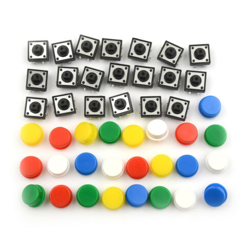 20SET MOMENTARY TACTILE PUSH BUTTON TOUCH MICRO SWITCH 4P PCB CAPS 12X12X7 3MMQH