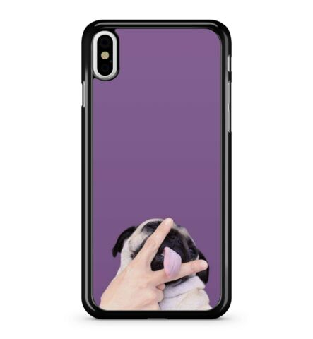 FUNNY PUG STICKING UP TWO FINGERS WITH TONGUE IN THE MIDDLE 2D PHONE CASE COVER