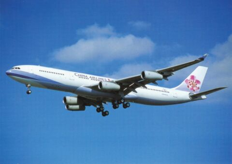 CHINA AIRLINES AIRBUS A340 313 ANSICHTSKARTE UNGEL