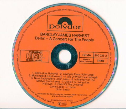 BARCLAY JAMES HARVEST CD BERLIN 1982 FULL RED FIRST PRESS 800 026 2 POLYDOR
