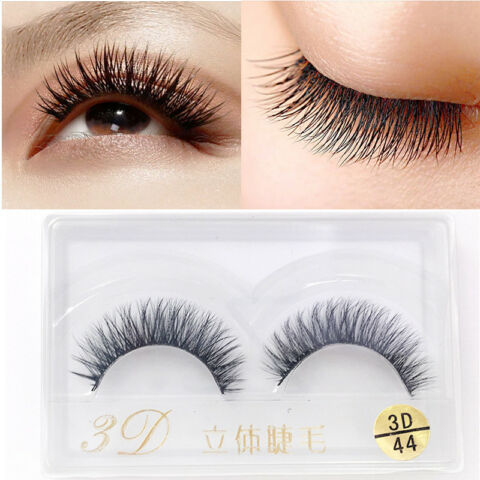 NEW 3D 100 REAL NERZ FELL NATURAL THICKKE UP WIMPERN WIMPERN FALSCH NEU