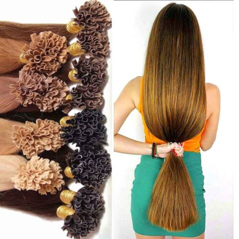 50CM 60CM STR HNEN KERATIN BONDING HAIR EXTENSION 100 ECHTHAAR HAARVERL NGERUNG