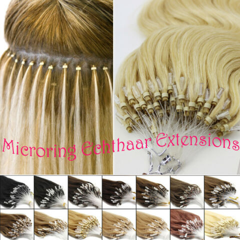 MICRO RING LOOP REMY HAIR EXTENSION ECHTHAAR HAARVERL NGERUNG MICRORING GLATT DE