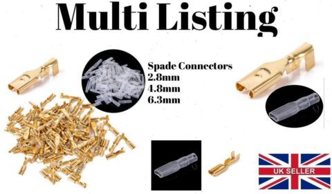 2 8MM 4 8MM 6 3MM GOLD CRIMP TERMINALS FEMALE SPADE CONNECTORS INSULATED WIRE
