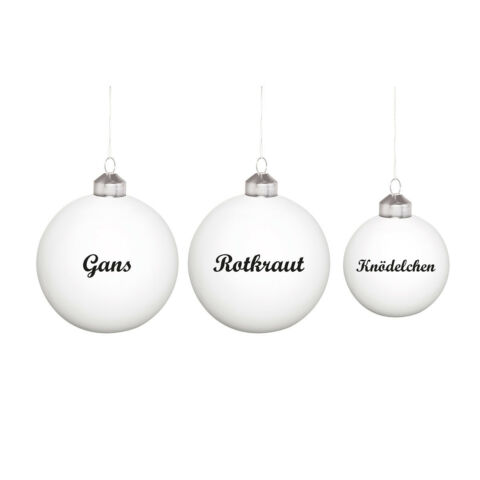 DONKEY PRODUCTS CHRISTBAUMKUGELN FESTESSEN 3ER SET GLAS WEI NEU OVP