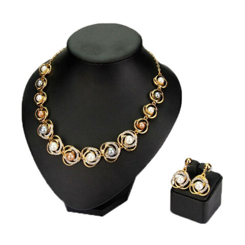 NECKLACE EARRINGS SIMULATED PEARL FLOWER JEWELRY SETS WEDDING PARTY ACCESSORIECN