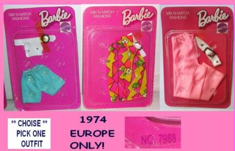 BARBIE VERY RARE 1974 7988 MIX N MATCH OUTFITS OVP CHOISE FOREIGN EUROPE ONLY