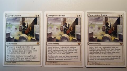 3X SACRED GROUND GESEGNETER BODEN RARE 9TH MTG MAGIC THE GATHERING