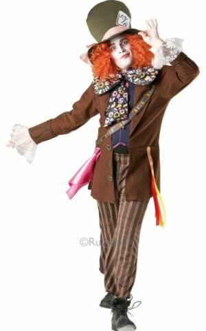 SALE LICENSED WONDERLAND DELUXE MAD HATTER MENS FANCY DRESS COSTUME PARTY OUTFIT