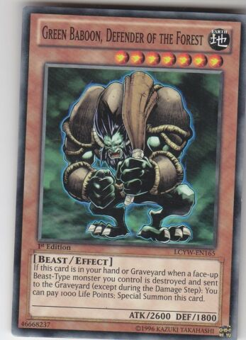 YU GI OH GREEN BABOON DEFENDER OF THE FOREST COMMON ENG LCYW EN165 GR NER BABOON