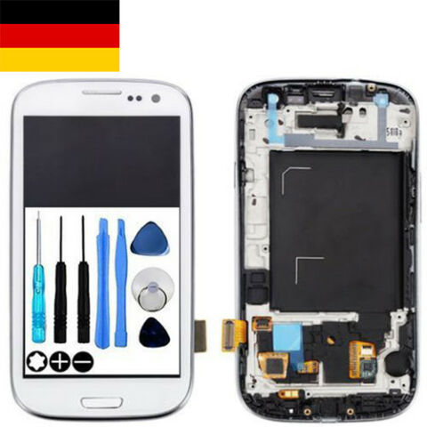 F R SAMSUNG GALAXY S3 NEO LCD DISPLAY TOUCHSCREEN RAHMEN GT I9301 WEI WEISS