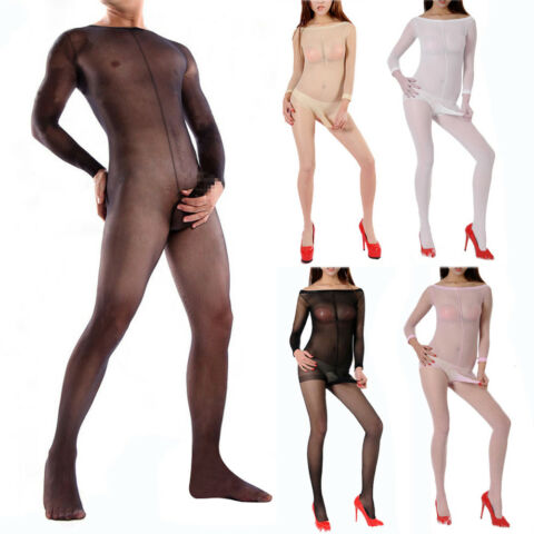 M NNER HERREN TRANSPARENT STRUMPFHOSE PANTYHOSE PENISH LLE CATSUIT BODY STOCKING